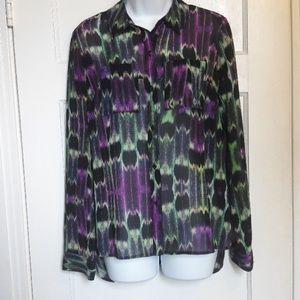 SzM bright button down blouse w/peep back